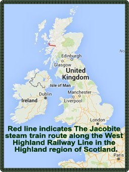 Reference Map - The Jacobite Train Route in western Scotland